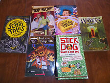 Mixed Lot of 6 Assorted Chapter Books Childrens books, scary tales, warriors, et