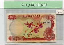 SINGAPORE MALAYSIA 1972 ORCHID SERIES $10 A/85 870556 Sgn Hon ss* aUNC