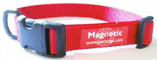 "NEW Magnetic Dog Collar 19mm Nylon Webbing 10"" 14"" Red"