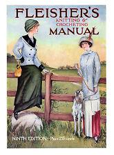 Fleisher's Knitting & Crocheting Manual #9 c.1911 HUGE Book of Vintage Patterns