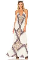New Sky Waerheall ivory geometric Maxi Dress viscose blend Made in USA Size M