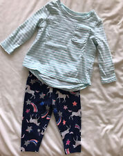Carters Girl T Shirt and Leggings 6 Months Unicorn