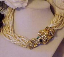 Kennth J Lane 1960's Signed KJL Crystal Rhinestone 12 Strand Ram's Head Necklace