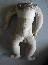 """BIG Vintage 1920s Stuffed Cloth Doll Body Arms and Legs 18 1/2"""" Tall"""