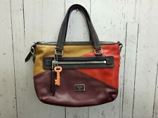 FOSSIL tricolor geunuine leather handbag/purse, burgundy/red/yellow