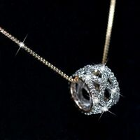 18K YELLOW GOLD MADE WITH SWAROVSKI CRYSTAL RING PENDANT BOX CHAIN NECKLACE