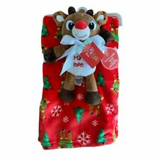 """2 Piece Christmas Rudolph Blanket with Plush Toy """" My First Christmas"""""""