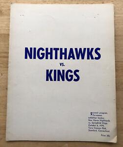 Vintage 1974 AHL Springfield Kings Program vs New Haven Nighthawks