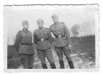 Foto, Drei Soldaten in Uniform, Mütze, Gelände