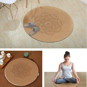 Natural Cork Yoga Mat Little Round Non-Slip Eco-Friendly Meditation Pilates Pads