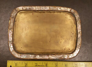 Small Vintage Brass Tray with Mother of Pearl Inlay Made in Mexico