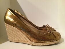 Womens COACH Wedge Heels Shoes Gold 6.5