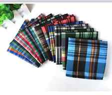 Lot 10 Pieces Men's Silk Handkerchief 10' Plaids  Pocket Square Wedding Napkin