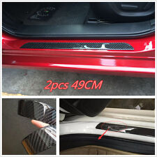 2x Carbon Fiber Car Scuff Plate Door Sill Cover Panel Step Protector Guard 49Cm (Fits: More than one vehicle)