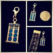Tardis Charm Dr Who Police Box Phone Charm Bracelet Clip Bag Purse Zip **UK**