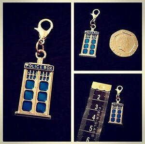 Tardis Charm Dr Who Police Box Phone Charm Bracelet Clip Bag Purse Zip **UK**
