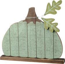 Blue Wooden Pumpkin Sign Table Top Chunky Slat Autumn Sitter