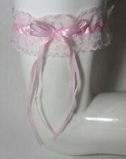 Lingerie accessoire mariage  : jarretière en dentelle rose taille unique