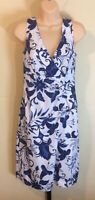 AGB Dress White Blue Floral Size 6 Cotton Blend Sleeveless Small