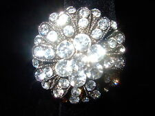 DIVA COCKTAIL CLEAR  ROUND BOUQUET  RHINESTONE RING AJUSTABLE SIZES