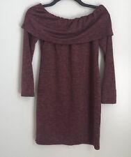 New Everly Medium Maroon Off The Shoulder Mini Sweater Dress