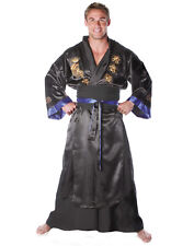 Black Samurai Robe Mens Adult Ninja Warrior Halloween Costume