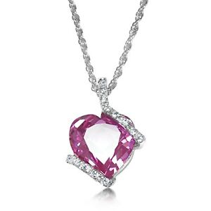 Love Heart Pink Pendant Sterling Silver -50% OFF NOW $32.50 FREE EXPRESS POST