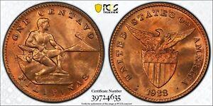 1928 M U.S. Philippines 1 Centavo PCGS MS64 RB Red Bronze Registry Coin KM163