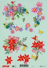 Feuille 3D à découper A4 - Pickup-020 Fleurs - Decoupage Flowers