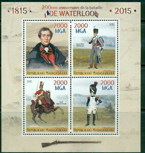 Waterloo Napoleon Bonaparte France Belgium Madagascar MNH stamp set 4val and ss