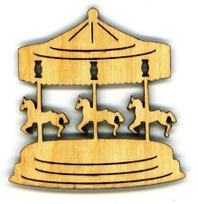 SET OF GALLOPING HORSES (CAROUSEL) - FRIDGE MAGNET – MADE OF WOOD