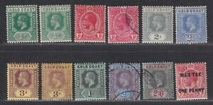 Gold Coast F/VF 1913-1921 George V Issues 12 Different Mult Crown CA Wmk SCV $79