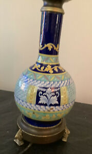 Antique Table Lamp Ceramic Porcelain Blues, Turquoise Yellow Articulated Dual