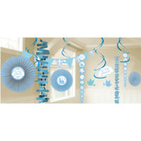 First Holy Communion Blue Party Room Decorations - BLUE Banners & Fans - 9901897
