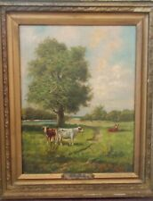 COWS IN PASTURE, oil canvas animals c1890 signed Wm deKay, estate art painting
