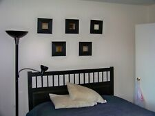 IKEA Set of 5 BLACK Framed Mirror Wall Decor MALMA Modern Art BLACK Square NEW