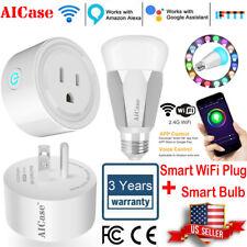 Smart WiFi Plug Outlet Switch + E27 Smart Bulb For Echo Alexa Google Home Remote