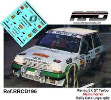 DECAL/CALCA 1/43; Renault 5 GT Turbo; Alsina-Ferrer; Rally Catalunya 1987