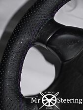 FITS MORRIS OXFORD MO PERFORATED LEATHER STEERING WHEEL COVER PURPLE DOUBLE STCH