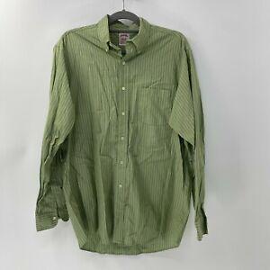 brooks brothers button up dress shirt sz 16 - 5 green striped