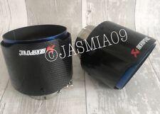 "2.5"" 63mm AKRAPOVIC 4"" GLOSS CARBON FIBRE BURNT BLUE STEEL CAR EXHAUST TIPS 120"