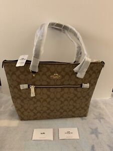 Authentic Coach Signature Gallery Tote Large Khaki/Black F79609 NEW
