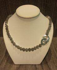 Labradoritkette 925/- Silber, Collier, Kette mit Labradorit, Halskette