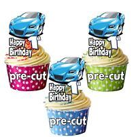 PRECUT Blue Sports Car 12 Birthday Cupcake Toppers Decorations Boys Mens ANY AGE