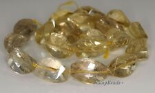 22X13-19X12MM  LEMON QUARTZ GEMSTONE FACETED TWIST OVAL  LOOSE BEADS 7""