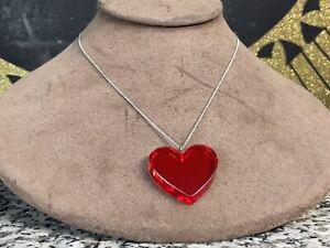 "Vintage Cherry Juice Red Bakelite Heart Pendant w/ Sterling Silver 18"" Chain"