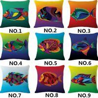 Tropical fish Cotton Linen Throw Pillow Case Cushion Cover Home Sofa Decor