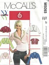 Junior's Lined Short Jackets Fitted McCall's M5093 Size 11/12 - 17/18 New Uncut