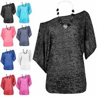Womens Burnout Batwing Side Ruched Top Ladies Off The Shoulder Bardot T Shirt