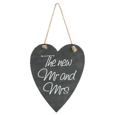 Rustic Country Shabby Chic 'The New Mr and Mrs' Hanging Wedding Slate Heart